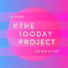 The 100 day project graphic featuring the title of the project over a blue and fuscia gradiated background.
