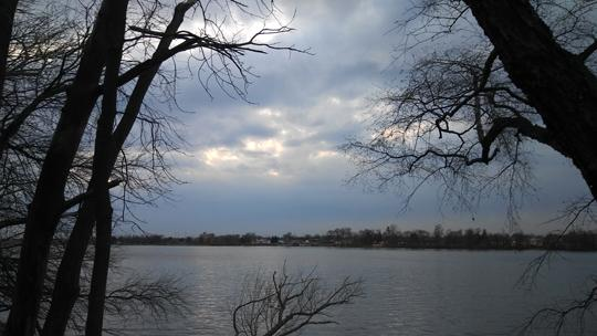 A photograph of Amico Island photo by Laura Chenault across the Delaware river. Water covers a third of the foreground and a dark, cloudy, evening sky is framed by bare trees on either side.
