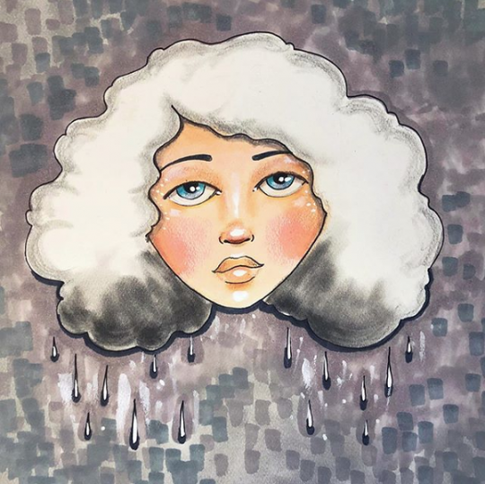 Image from an Instagram post. Inspired by Jaymee Laws. Called cloudy day. It's an illustration of a woman with a poofy white cloudy haircut with dark gray droplets