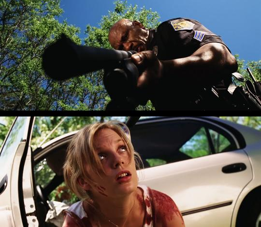 Still from Dawn Of The Dead (2004) Ana (Sarah Polley), our front line nurse joins up policeman Kenneth (Ving Rhames)