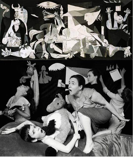 This amazing family recreation of black and white, cubist waretime mural Guernica by Pablo Picasso is amazing. The bottom is a black and white photo by Enfants Autour du Monde is one reason why I'm following Tussen Kunst