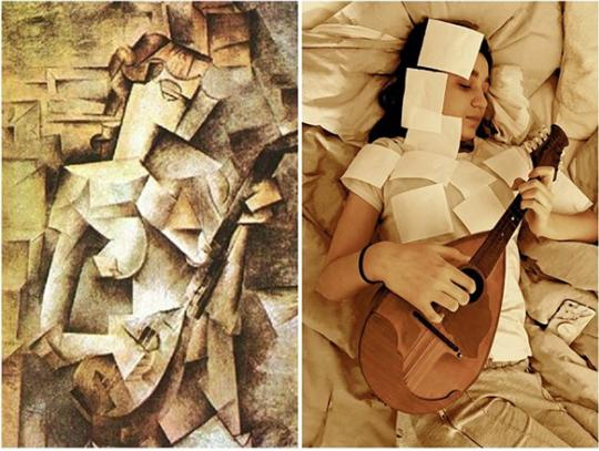 I'm following Tussen Kunst to see my favorite artist recreated. Picasso Picasso's painting Girl with Mandolin is a cubist vision of a woman holding a mandolin in neutral shades. It's recreated in a photograph by Stephanie Williams who has used tollet paper sheets to recreate the cubist look while holding a real mandolin.