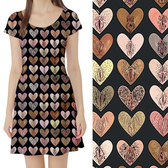 Vulvalution Skater Dress by Joanna Thangiah. On the left is a photo of a model wearing a black skater dress with hearts on it. On the right is a close up of the pattern showing that the hearts are drawings of vulvas.
