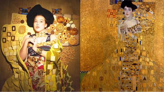 I'm following Tussen Kunst and I found Woman in Biscuits is Julia Timoshkova‬'s recreation of Gustav Klimt's Woman in Gold. Woman in biscuits is a photograph of a woman laying on the ground enveloped in gold fabric that is patterned by the placement of biscuits, rolls, and cookies surrounding a young woman. The Klimt painting on the right is a young woman in a gold, highly patterned gown.