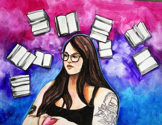 A portrait painting called Kaitlin  by Jaymee Laws. It's an image of a woman in glasses surrounded by airborne books on a background of pink, purple, and blue.