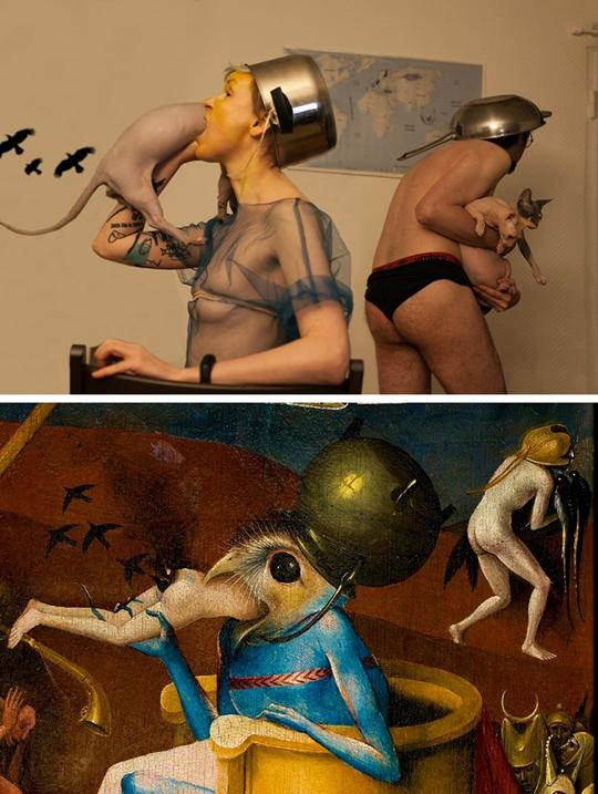 I'm following Tussen Kunst so I can see Ksenia Krondo recreate The Garden of Earthly Delights by Hieronymus Bosch. On the top is the recreation and on the bottom is the original painting. My apologies that I can't even begin to descrbe the imagery well.