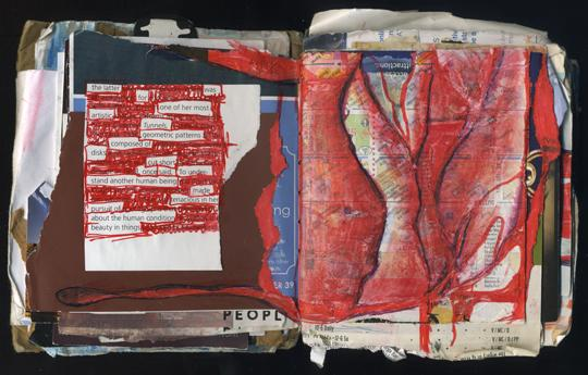 Beauty in Things: Random Journal Page 186 by Laura Chenault has a found word poem on the left side that's collaged with torn paper. The right side is dominated by a red mixed-media drawing that resembles a red rose or a vulva.
