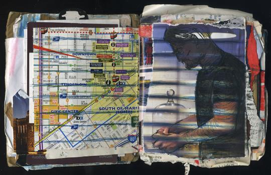 Connections: Random Journal Page 187 by Laura Chenault is a collage with a map of Oakland on the left and an image of a man holding something unidentified on the right. Stripes across the man continue into the grid lines on the map.