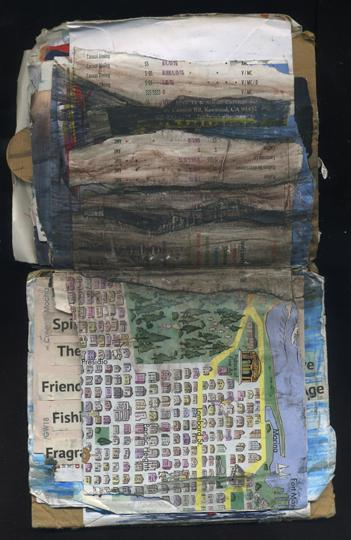 Fading Hills: Random Journal Page 181 by Laura Chenault is a spread from one of her journals with a cartoony map of San Francisco's Golden Gate Park on the bottom half. The top half features dark brown and black watercolor hills that continue down onto the bottom.