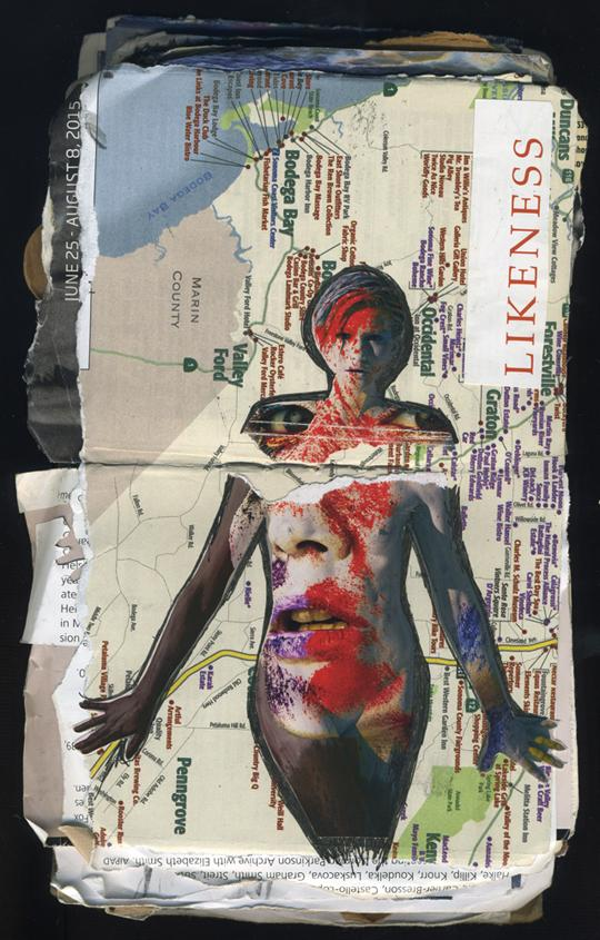 Likeness: random journal page 191 by Laura Chenault features a woman superimposed with a face that is on top of a map of Bodega Bay. The word likeness is collaged vertically in the upper right corner.