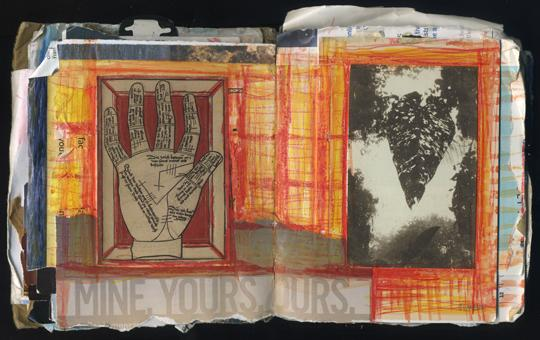 """Mine. Yours. Ours.: Random Journal Page 184 by Laura Chenault is a spread from one of her sketchbooks. The left side has a palmistry diagram and the right has a photograph of a leaf. A red and yellow plaid pattern connects the two and the text """"Mine. Yours. Ours."""" spans across the pages on the bottom."""