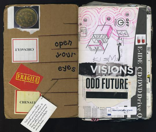 "Odd future is a mixed media collage by Laura Chenault. The photo is of an open spread of my sketchbook. On the left is cardboard with stickers, a petri dish, and the text ""open your eyes"". There's also a fortune on cardstock hanging down. On the right is the text ""visions"" and ""odd future over a page from an instruction manual. Pink ink circles are drown over the directions."