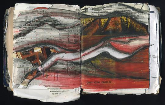 Red Hills is a mixed media collage by Laura Chenault. The picture is of an open sketchbook. torn magazine pages, and watercolor pencils combine to create a hilly, red landscape.
