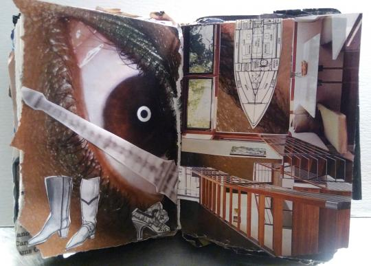 Surrealist landscape. Collage by Laura Chenault. This collage has a giant eye in the background on the left and an interior with wooden stairs on the right. The stairs lead into the Eiffel tower this dissects the eye. Two boots and one vintage ladies' shoe are in the left corner and the bow of a boat is in the top right.