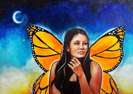 Inspired by Jaymee Laws. A portrait painting called Megan  by Jaymee Laws is of a woman looking off to the right, with butterfly wings, in front of a dark night sky with a crescent moon.