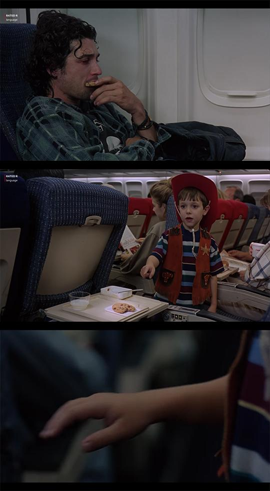 Three screen shots from the movie Outbreak. The top image is a sick guy eating a cookie, the second image is a kid poiting at the cookie, and the final image is a close up of the kid reaching for the cookie.