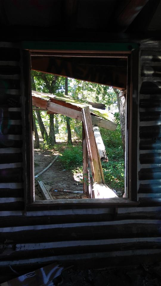 A photo of the woods as seen through a window in an abandoned log cabin. Exploring an abaondoned cabin in Rancocas State Park by Laura Chenault