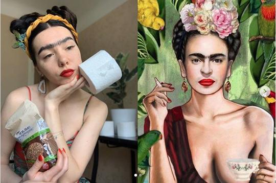 I'm following Tussen Kunst for this cool version of Frieda Khalo's painting Tea and Smokes redone by KSU Colorist. The reacreation features a woman with a heavy, drawn-on unibrow holiding a cup and a roll of toilet paper. On the right is Kahlo's original self portrait with a floral crown and a cigarette.