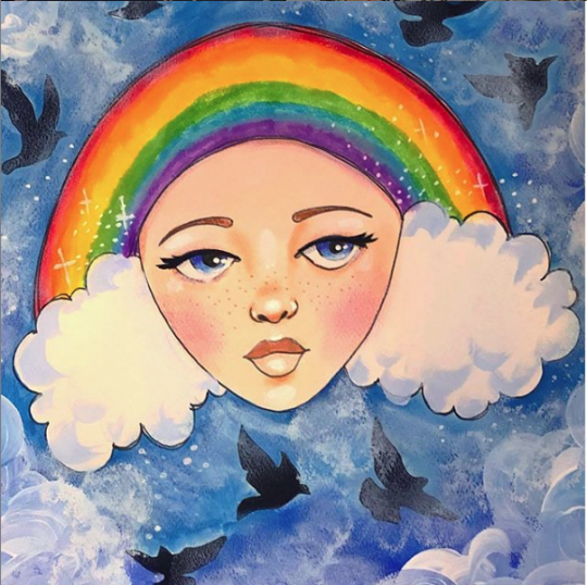 Inspired by Jaymee Laws. Image from an untitled and uncaptioned Instagram post by Jamie Laws. It's an illustration of a woman with a poofy white cloudy haircut and a rainbow headband.