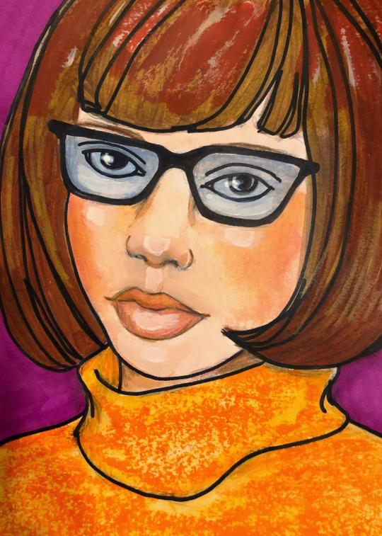 A painting of Velma from Scooby Doo by Jaymee Laws
