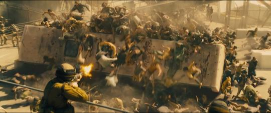 Still from World War Z: Quarantine Cinema of zombies swarming over a bus while being shot by a soldier in the foreground.