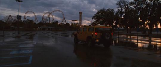 A still from Zombieland (2009): Quarantine Cinema as they arrive at a seemingly empty amusement park.