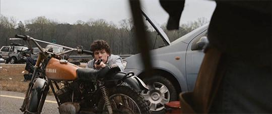 A still from Zombieland (2009): Quarantine Cinema when Columbus first meets Tallahassee