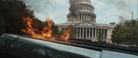 A still from Zombieland (2009): Quarantine Cinema showing Washington D.C. on fire.