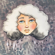 Inspired by Jamee Laws. Image from an Instagram post by Jaymee Laws called cloudy day. It's an illustration of a woman with a poofy white cloudy haircut with dark gray droplets