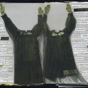 Rooftop: Random Journal Page 160 is a collage with two headless figures in choir robes holding their hands up. To their left and right are random cut up words and phrases.