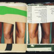 Knees: Random Journal Page 170 by Laura Chenault is a collage of three sets of knees in various skin tones. The background is a part of a poster on the left and CD liner notes on the right.