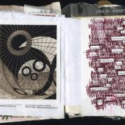Changes Vacated Early: Random journal page 190 by Laura Chenault has a photograph on the left of circles and spokes and a found poem on the left.