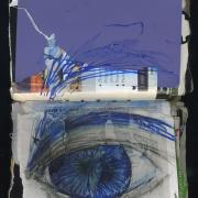 Cry Baby: Random journal page 188 by Laura Chenault is a mixed media spread that has torn purple paper on the top and gray field from a magazine. Across both, but mostly on the bottom is a blue and black, pencil and marker drawing of an eye.
