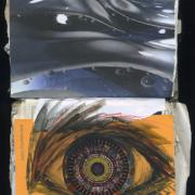 Liquid Soul Window: Random Journal Page 183 by Laura Chenault features a large watercolor eye on and orange background. The iris of the eye is a circular, kaleidoscope pattern and the top half has images of metallic liquid and bubbles.