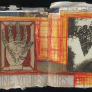 "Mine. Yours. Ours.: Random Journal Page 184 by Laura Chenault is a spread from one of her sketchbooks. The left side has a palmistry diagram and the right has a photograph of a leaf. A red and yellow plaid pattern connects the two and the text ""Mine. Yours. Ours."" spans across the pages on the bottom."