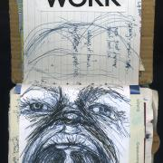 """Work: Random Journal Page 172 by Laura Chenault is a self portrait in ballpoint pen of me screaming with the word """"work"""" collaged overhead."""