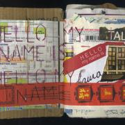 """Hello My Name Is: Random Journal Page 173 by Laura Chenault is a collage that has a """"Hello my name is"""" tage on the right hand side and those same words are stencilled across the left. A red chopstick wrapper spans the pages across the bottom."""