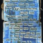 Give Don't Know: Random Journal Page 178 by Laura Chenault is a found poem with cut out words over a blue background.