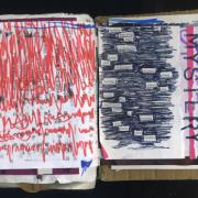 """Know the Mystery: Random Journal Page 181 by Laura Chenault has a poem found in a panel of text where the words are scribbled around with black ballpoint. The words """"know the mystery"""" are stenciled at a 90 degree angle to the righ of the poem. The left side is red marker that looks like a chaotic heartbeat, but is really a visualization of a song by Tool."""
