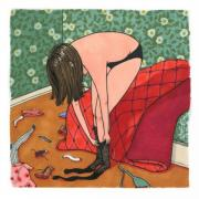This drawing by Sally Nixon features a girl in black underpants putting on black tights. Clothes are strewn about the floor and she's next to a bed with a red quilt.