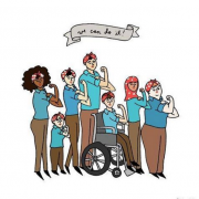 "A drawing of seven women by Typer Feder via The Representation Project. The women are different colors, sizes, and abilities. All of them have one hand up in a powerful fist emulating the famous ""We can do it"" poster."