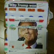 """Why Trump Won by Laura Chenault is a collage with cut out text over an image of President Trump. In addition to the title, the other words are """"What happened, what happened, what happened"""", """"Inside Trump's imporbable win"""", and """"stories… Trump flip-flopping Trump …and rages""""."""