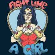 "Comic by Guiganoide that says ""fight like a girl"" and has Wonder Woman drawn as a boxer."