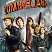 Poster from Zombieland (2009) with the four main characters (from left to right) Tallahassee, Columus, Wichita, and Little Rock all holding weapons.