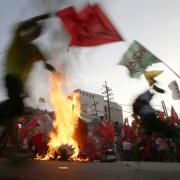 Protesters on May Day Wednesday, May 1, 2013 in Manila, Philippines. AP / Bullit Marquez